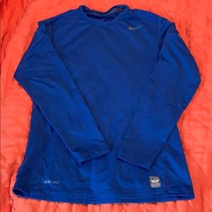 Blue Nike fitted long sleeve shirt